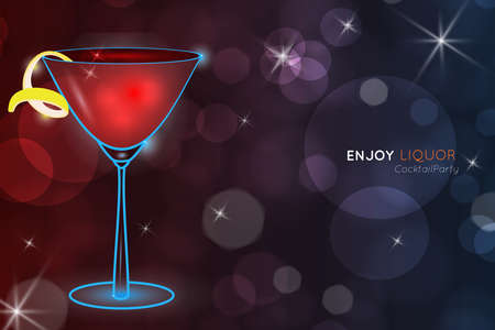 Cosmopolitan cocktail bokeh.Neon cocktail with light glowing on black background. Design for cocktail menu, cocktail party, bar poster. Template for nightclub event or party. Illusztráció