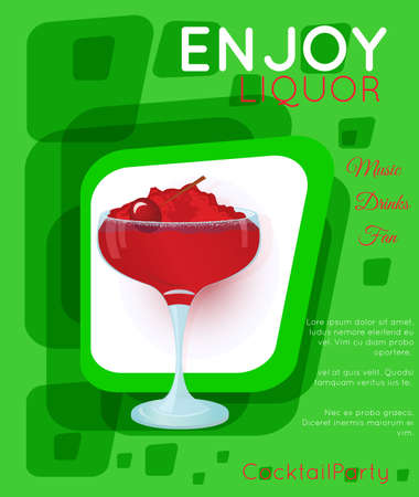 Red cocktail with crushed ice and cherry on green rectangles.Cocktail illustration on bright contemporary flat background. Design for cocktail menu, bar poster, event invitation. Template for cocktail party. Ilustração