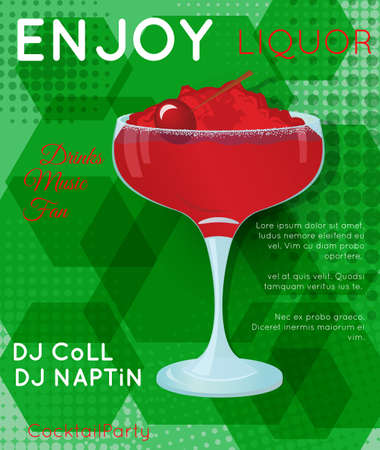 Red cocktail with crushed ice and cherry on green hexagons with halftone.Cocktail illustration on bright contemporary flat background. Design for cocktail menu, bar poster, event invitation. Template for cocktail party.