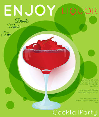 Red cocktail with crushed ice and cherry on green circles.Cocktail illustration on bright contemporary flat background. Design for cocktail menu, bar poster, event invitation. Template for cocktail party. Ilustração