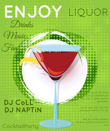 Red cosmopolitan cocktail in martini glass on grunge circle.Cocktail illustration on bright contemporary flat background. Design for cocktail menu, bar poster, event invitation. Template for cocktail party.