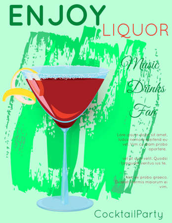 Red cosmopolitan cocktail in martini glass on grunge green texture.Cocktail illustration on bright contemporary flat background. Design for cocktail menu, bar poster, event invitation. Template for cocktail party.