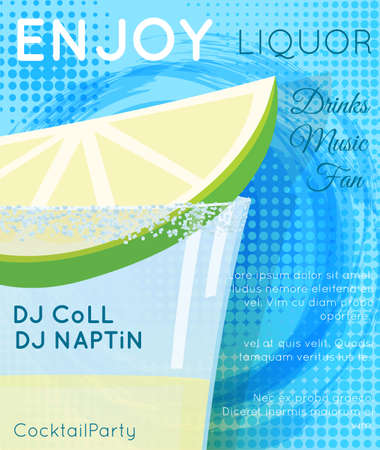 Tequila shot cocktail with slice of lime and salt on blue grunge circle with halftone texture close up.Cocktail illustration on bright contemporary flat background. Design for cocktail menu, bar poster, event invitation. Template for cocktail party.