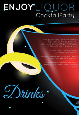 Cosmopolitan cocktail close up side.Neon cocktail with light glowing on black background. Design for cocktail menu, cocktail party, bar poster. Template for nightclub event or party.