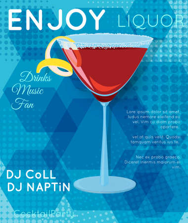 Red cosmopolitan cocktail in martini glass on blue hexagons.Cocktail illustration on bright contemporary flat background. Design for cocktail menu, bar poster, event invitation. Template for cocktail party.