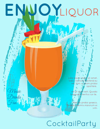Orange cocktail with slice of pineapple and green leaves on blue grunge texture.Cocktail illustration on bright contemporary flat background. Design for cocktail menu, bar poster, event invitation. Template for cocktail party. Illustration