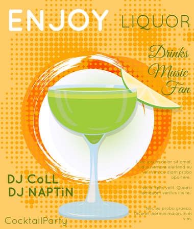 Green cocktail in coupe glass with slice of lime on orange halftone.Cocktail illustration on bright contemporary flat background. Design for cocktail menu, bar poster, event invitation. Template for cocktail party. Illustration