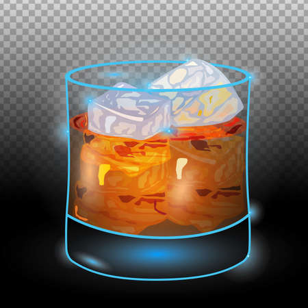 Scotch on rocks transparent.Neon cocktail with light glowing isolated on black background. Illustration of alcohol drink with transparency effect. 向量圖像