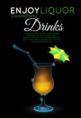 Orange cocktail with straw and decorative umbrella on black.Neon cocktail with light glowing on black background. Design for cocktail menu, cocktail party, bar poster. Template for nightclub event or party. Illustration
