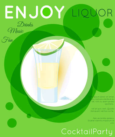 Tequila shot cocktail with slice of lime and salt on green circles.Cocktail illustration on bright contemporary flat background. Design for cocktail menu, bar poster, event invitation. Template for cocktail party. Illustration