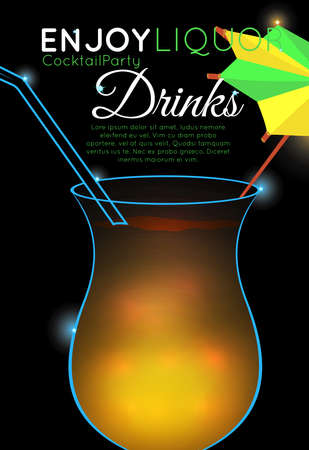 Orange cocktail with straw and decorative umbrella top.Neon cocktail with light glowing on black background. Design for cocktail menu, cocktail party, bar poster. Template for nightclub event or party.