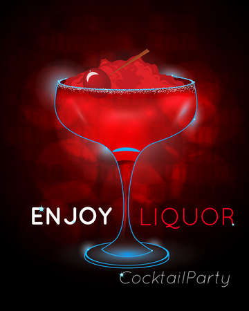 Red cocktail with cherry on crushed ice disco.Neon cocktail with light glowing on black background. Design for cocktail menu, cocktail party, bar poster. Template for nightclub event or party.