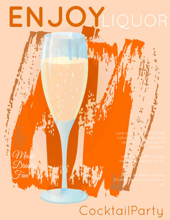 Classic sparkling wine champagne on grunge orange texture.Cocktail illustration on bright contemporary flat background. Design for cocktail menu, bar poster, event invitation. Template for cocktail party.