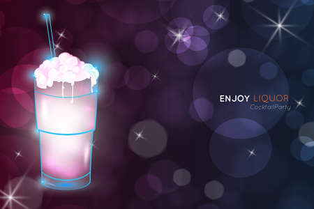 Milkshake cocktail bokeh.Neon cocktail with light glowing on black background. Design for cocktail menu, cocktail party, bar poster. Template for nightclub event or party.