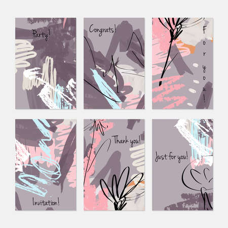 Rough sketched dandelion flowers and seeds on scribbles.Hand drawn creative invitation or greeting cards template. Anniversary, Birthday, wedding, party, social media banners set of 6. Isolated on layer.
