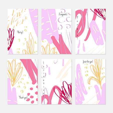 Rough drawn scribbles dots and circle abstract floral.Hand drawn creative invitation or greeting cards template. Anniversary, Birthday, wedding, party, social media banners set of 6. Isolated on layer.
