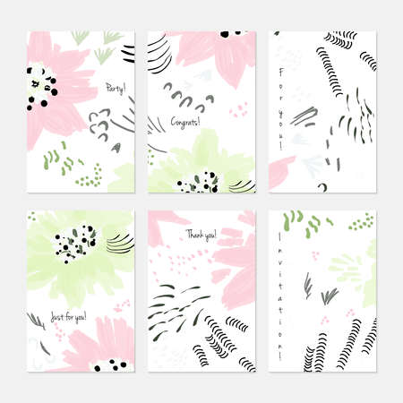 Rough drawn with marker brush spring flowers and seeds.Hand drawn creative invitation or greeting cards template. Anniversary, Birthday, wedding, party, social media banners set of 6. Isolated on layer.