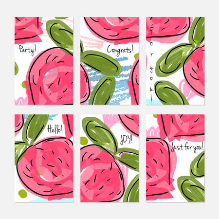 Rough scribbles and abstract berries.Hand drawn creative invitation or greeting cards template. Anniversary, Birthday, wedding, party, social media banners set of 6. Isolated on layer.