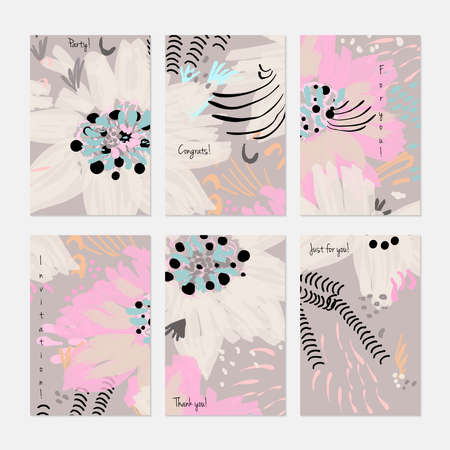 Rough drawn with marker brush spring flowers and seeds.Hand drawn creative invitation or greeting cards template. Anniversary, Birthday, wedding, party, social media banners set of 6. Isolated on layer. Stock Vector - 90823332