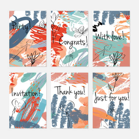 Rough sketched dandelion flowers and seeds on scribbles. Hand drawn creative invitation or greeting cards template. Anniversary, Birthday, wedding, party, social media banners set of 6. Isolated on layer. Stock Vector - 90823432