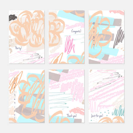 Kids drawing crayon textured strokes. Hand drawn creative invitation or greeting cards template. Anniversary, Birthday, wedding, party, social media banners set of 6. Isolated on layer.