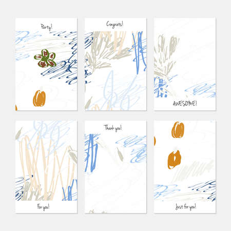 Rough scribbles and abstract berries. Hand drawn creative invitation or greeting cards template. Anniversary, Birthday, wedding, party, social media banners set of 6. Isolated on layer.