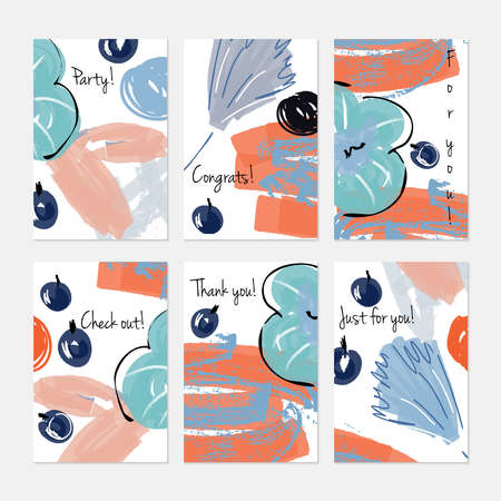 Abstract berries and big flower marker brush. Hand drawn creative invitation or greeting cards template. Anniversary, Birthday, wedding, party, social media banners set of 6. Isolated on layer. Stock Vector - 90860679