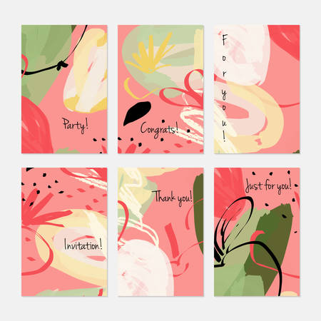 Rough sketched apple on marker brush strokes.Hand drawn creative invitation or greeting cards template. Anniversary, Birthday, wedding, party, social media banners set of 6. Isolated on layer. Stock Illustratie