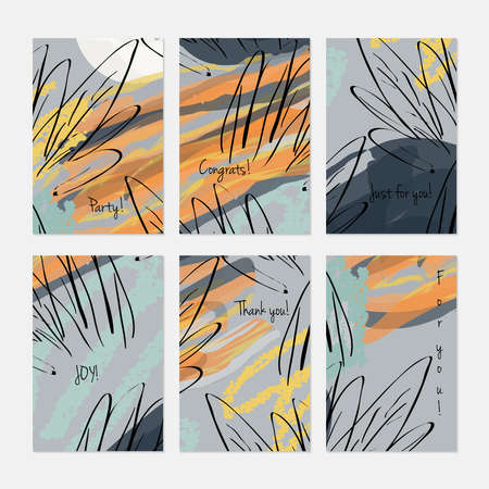 Abstract trees and buses on marker brush.Hand drawn creative invitation or greeting cards template. Anniversary, Birthday, wedding, party, social media banners set of 6. Isolated on layer.