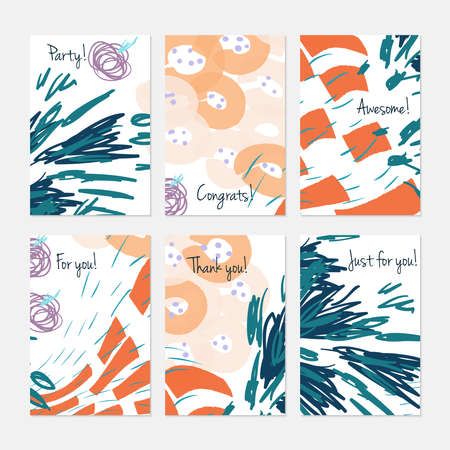 Marker brush colorful circles.Hand drawn creative invitation or greeting cards template. Anniversary, Birthday, wedding, party, social media banners set of 6. Isolated on layer.  イラスト・ベクター素材