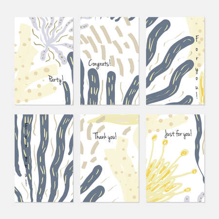 Abstract underwater seaweed dotted.Hand drawn creative invitation or greeting cards template. Anniversary, Birthday, wedding, party, social media banners set of 6. Isolated on layer. Illustration