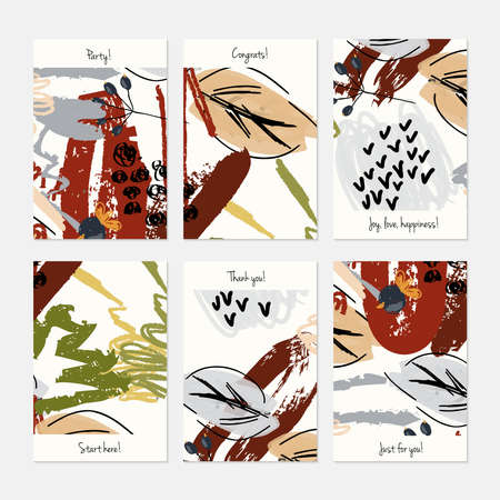 Abstract berries and leaves seasonal.Hand drawn creative invitation or greeting cards template. Anniversary, Birthday, wedding, party, social media banners set of 6. Isolated on layer. Çizim
