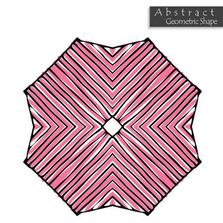 Abstracte geometrische vorm ongeveer hand getrokken. Gestreept symmetrisch geometrisch symbool. Vector pictogram geïsoleerd op wit. Tribal etnische patroon ontwerpelement.