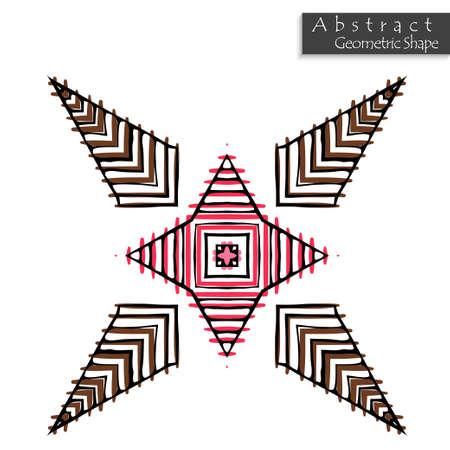 Signer avec croix. Forme géométrique abstraite à peu près dessinée à la main. Symbole géométrique symétrique rayé. Icône de vecteur isolé sur blanc. Élément de design Tribal ethnique modèle. Vecteurs