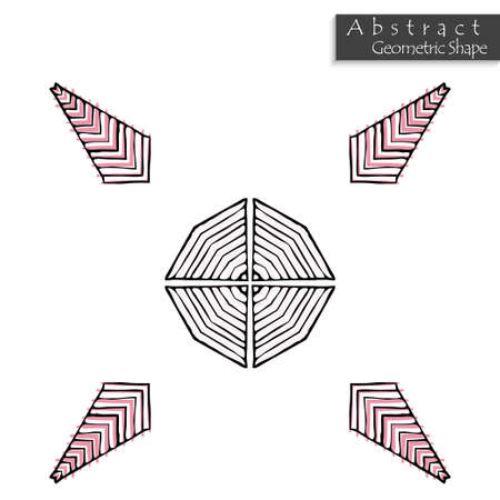 Sign with cross. Abstract geometric shape roughly hand drawn. Striped symmetrical geometrical symbol. Vector icon isolated on white. Tribal ethnic pattern design element.