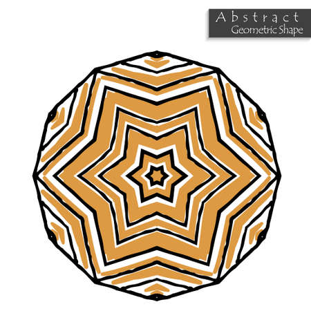 Star sign.Abstract geometric shape roughly hand drawn. Striped symmetrical geometrical symbol. Vector icon isolated on white. Tribal ethnic pattern design element.