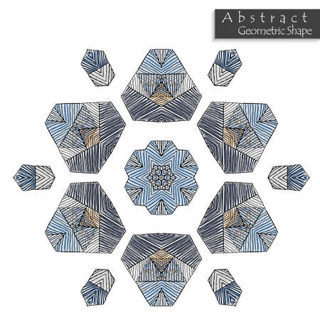 Abstract geometric shape roughly hand drawn. Striped symmetrical geometrical symbol. Vector icon isolated on white. Tribal ethnic pattern design element.