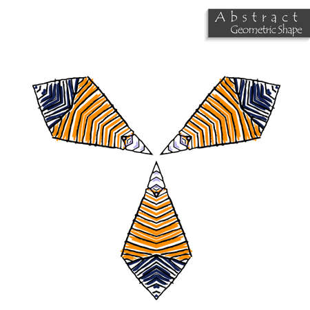 Sign with trefoil.Abstract geometric shape roughly hand drawn. Striped symmetrical geometrical symbol. Vector icon isolated on white. Tribal ethnic pattern design element.