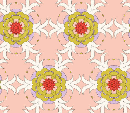 Vector seamless pattern with mandala shape. Vintage colored floral decorative repainting background with boho chic style and ethnic motifs. Abstract geometric flower with round symmetry.