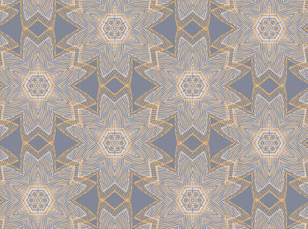 Vector seamless pattern with mandala shape. Vintage colored floral decorative repainting background with boho chic style and ethnic motifs. Abstract geometric flower with round or star like symmetry.