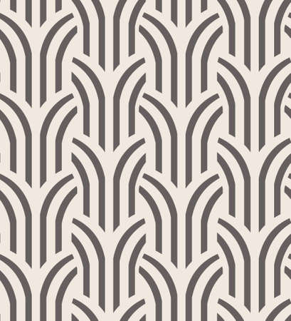 Vector seamless pattern. Simple geometric background with abstract tree linear shapes.