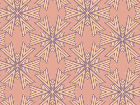 Vector seamless pattern with mandala shape. Vintage colored floral decorative repainting background with boho chic style and ethnic motifs. Abstract geometric flower with round or hexagonal symmetry.
