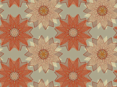 Vector seamless pattern with mandala shape. Vintage colored floral decorative repainting background with boho chic style and ethnic motifs. Abstract geometric flower with round or floral  symmetry.