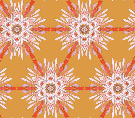 Vector seamless pattern with mandala shape. Vintage colored floral decorative repainting background with boho chic style and ethnic motifs. Abstract geometric flower with round triangular symmetry.