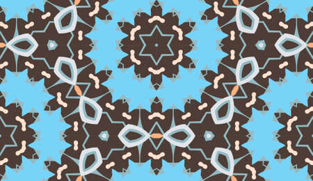 Vector seamless pattern with mandala shape. Vintage colored floral decorative repainting background with boho chic style and ethnic motifs. Abstract geometric flower with round or triangular symmetry. Illustration