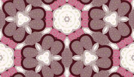 Vector seamless con forma di mandala. Sfondo di ridipingere decorativo floreale colorato vintage con stile boho chic e motivi etnici. Fiore geometrico astratto con simmetria rotonda. Archivio Fotografico - 90577405