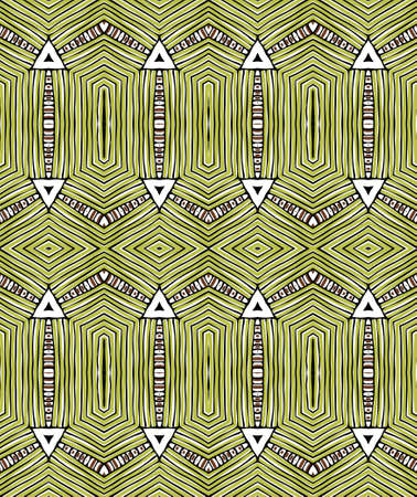Vintage colored decorative repainting background with tribal and ethnic motifs. Abstract geometric roughly hatched shapes colored with hand drawn brush stokes.