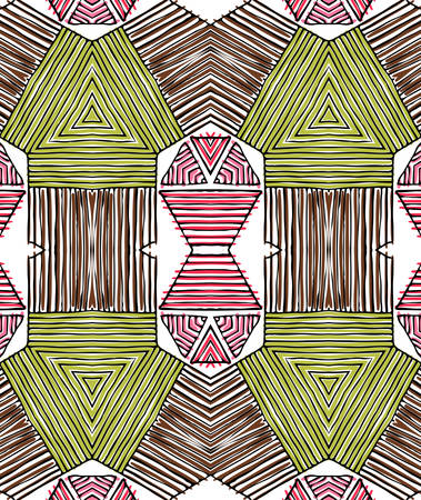 Seamless striped vector pattern. Vintage colored decorative repainting background with tribal and ethnic motifs. Abstract geometric roughly hatched shapes colored with hand drawn brush stokes. Vectores