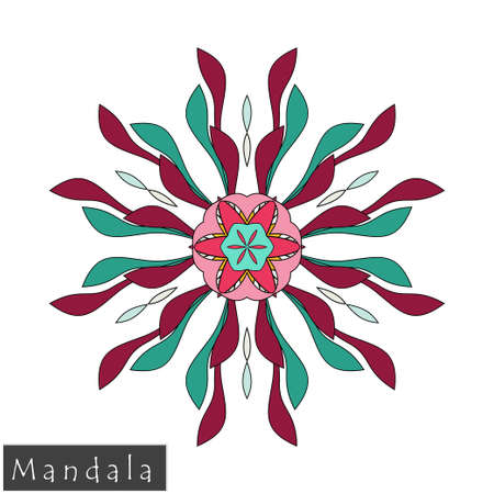 Floral symmetrical geometrical symbol. Vector flower mandala icon isolated on white. Oriental round colored pattern. Arabic, Indian, Moroccan, Spain, Turkish, Pakistan, Chinese decorative element. Illustration