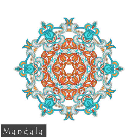 Floral symmetrical geometrical symbol. Vector flower mandala icon isolated on white background. Oriental round colored pattern. Arabic, Indian, Moroccan, Spain, Turkish, Pakistan, Chinese decorative element.